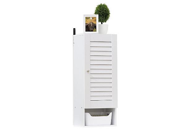 Furinno Indo Slim Wall Cabinet, White, large