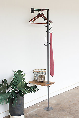 Kalalou Metal Coat Rack with Recyled Wooden Slat Side Table, , large