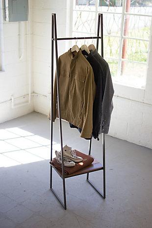 Kalalou A-Frame Metal Rack with Lower Wood Shelf, , rollover