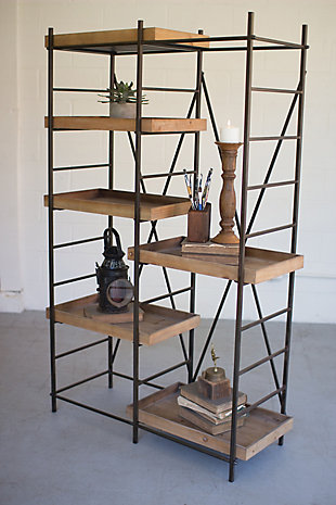 Kalalou Iron Shelving Unit with 6 Adjustable Wooden Shelves, , rollover