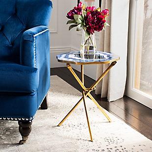 Safavieh Celeste Faux Agate Accent Table, Multi Blue/Gold, rollover