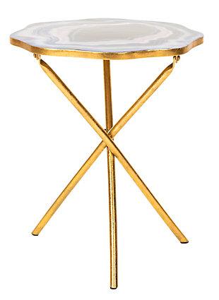 Safavieh Celeste Faux Agate Accent Table, Multi Blue/Gold, large