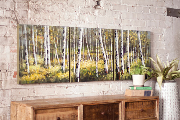 Wall Art Set Of 3 home accents birch tree wall art (set of 3) | ashley furniture