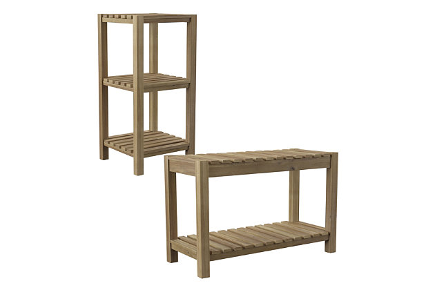 Southern Enterprises Vasana Solid Wood Bath Storage Set (Set of 2), , large