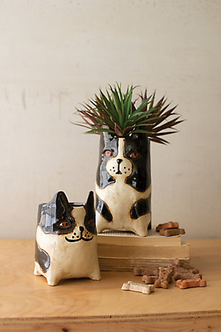 Kalalou Ceramic Dog Planters (Set of 2), , rollover