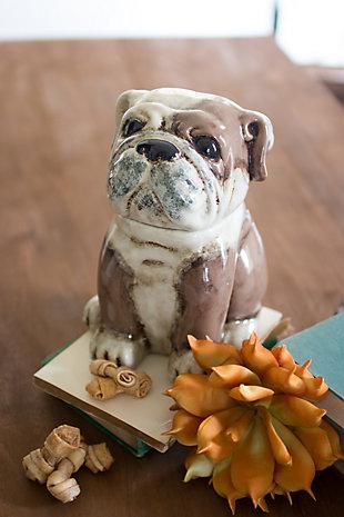 Kalalou Ceramic Bull Dog Canister, , rollover