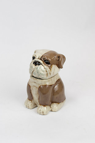 Kalalou Ceramic Bull Dog Canister, , large