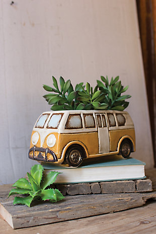 Kalalou Ceramic Yellow Van Planter, , rollover