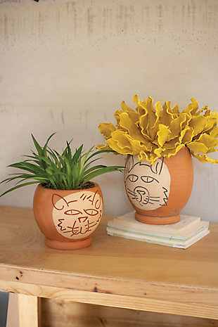 Kalalou  Clay Abstract Cat Face Pots (Set of 2), , large