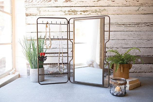Kalalou Metal Tabletop Jewelry Holder With Mirror, , large