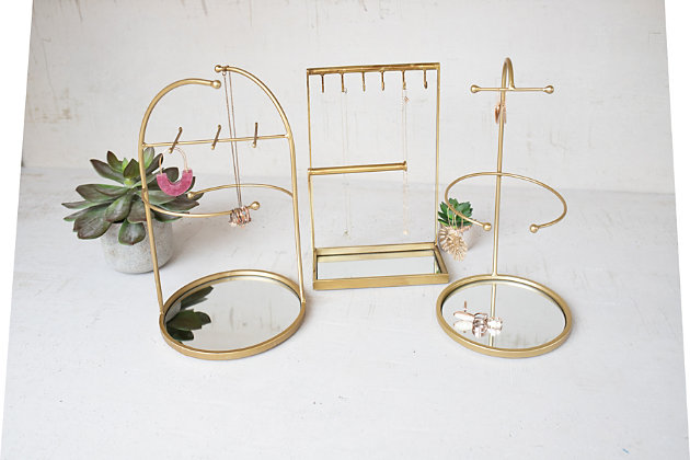 Kalalou Tabletop Jewelry Stand With Mirror Bases (Set of 3), , large