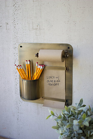 Kalalou Note Roll With Antique Brass Wall Rack With Pencil Holder, , rollover