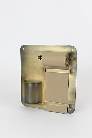 Kalalou Note Roll With Antique Brass Wall Rack With Pencil Holder, , large