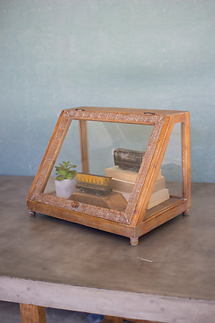 Kalalou Wood & Glass Display Case with Slanted Front, , rollover