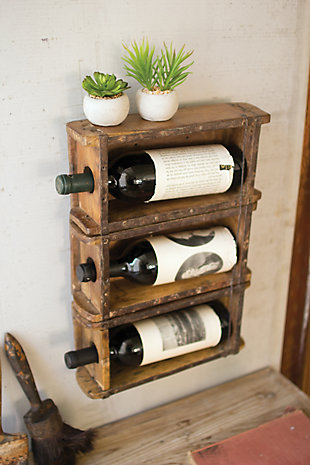 Kalalou Hanging Brick Mold Wine Rack, , rollover