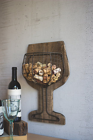 Kalalou Wood And Wire Wall Wine Cork Holder, , large