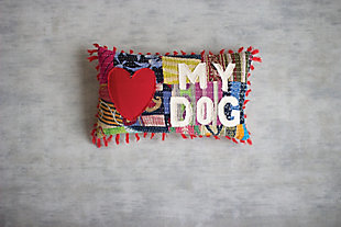 Kalalou Love My Dog Kantha Pillow, , large