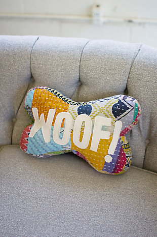 Kalalou Kantha Bone Pillow - Woof!, , large