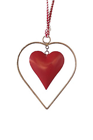 Kalalou Antique Brass And Red Heart Door Hanger, , large