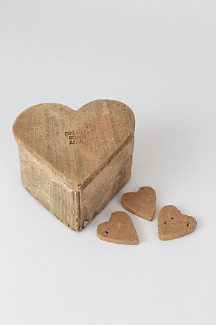 Kalalou Clay Heart Box, , large