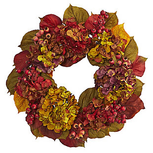 "Harvest  24"" Fall Hydrangea Wreath, , rollover"
