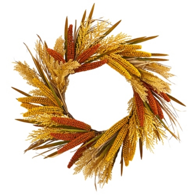 "Harvest  25"" Sorghum Harvest Artificial Wreath, , large"