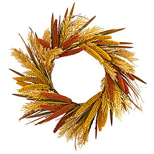 "Harvest  25"" Sorghum Harvest Artificial Wreath, , large"