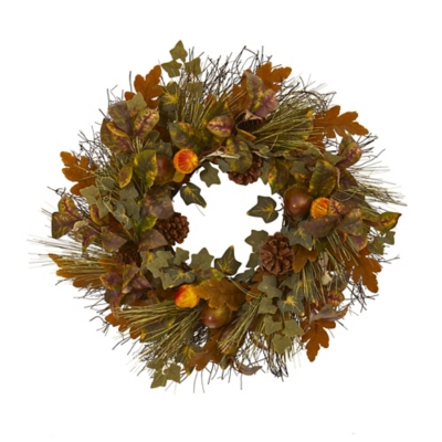 """Harvest  23"""" Mixed Fall Leaf, Pinecone and Acorn Artificial Wreath, , large"""