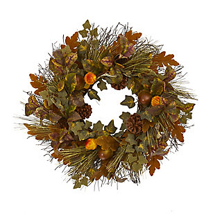 "Harvest  23"" Mixed Fall Leaf, Pinecone and Acorn Artificial Wreath, , rollover"