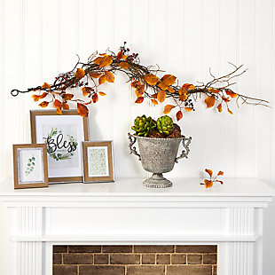 Harvest  4' Fall Foliage, Berries and Twig Artificial Garland, , rollover