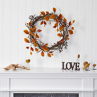 "Harvest  19"" Harvest Leaf, Berries and Twig Artificial Wreath, , rollover"