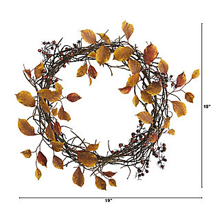 "Harvest  19"" Harvest Leaf, Berries and Twig Artificial Wreath, , large"