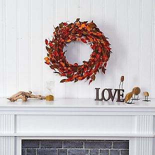 "Harvest  20"" Harvest Leaf and Mini Pumpkin Artificial Wreath, , rollover"