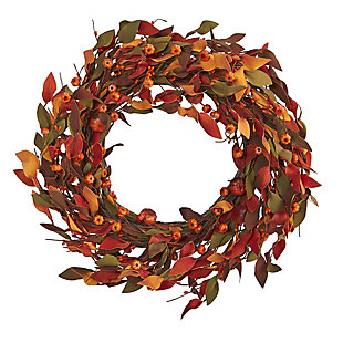 "Harvest  20"" Harvest Leaf and Mini Pumpkin Artificial Wreath, , large"