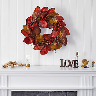 "Harvest  24"" Harvest Magnolia Leaf and Berries Artificial Wreath, , rollover"