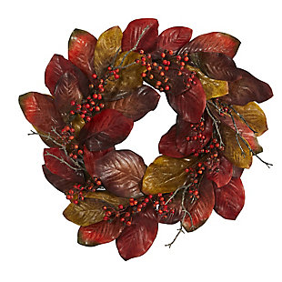"Harvest  24"" Harvest Magnolia Leaf and Berries Artificial Wreath, , large"