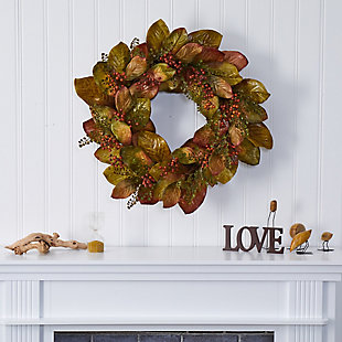 "Harvest  30"" Fall Magnolia Leaf and Berries Artificial Wreath, , rollover"