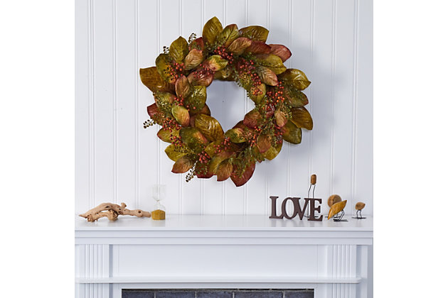 """Harvest  30"""" Fall Magnolia Leaf and Berries Artificial Wreath, , large"""