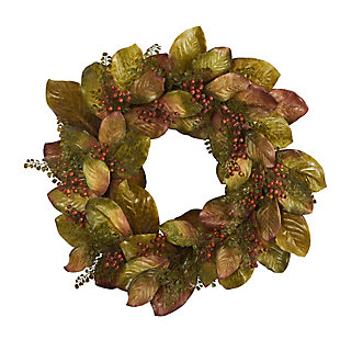 "Harvest  30"" Fall Magnolia Leaf and Berries Artificial Wreath, , large"