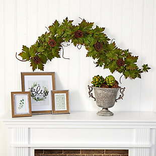 Harvest  5' Fall Maple Leaf with Pine Cones Artificial Garland, , rollover