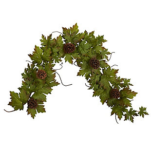 Harvest  5' Fall Maple Leaf with Pine Cones Artificial Garland, , large