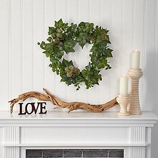 "Harvest  24"" Grape Leaf and Eucalyptus Artificial Wreath, , rollover"
