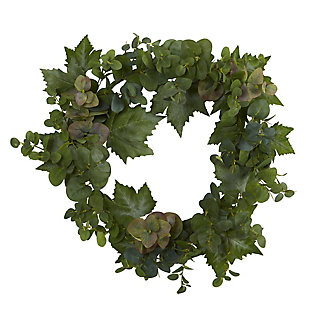 "Harvest  24"" Grape Leaf and Eucalyptus Artificial Wreath, , large"