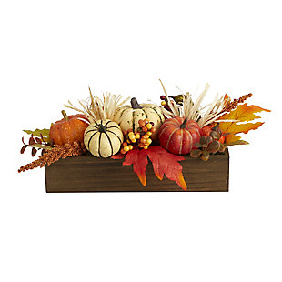 "Harvest  16"" Harvest Pumpkin and Berries Artificial Arrangement, , large"