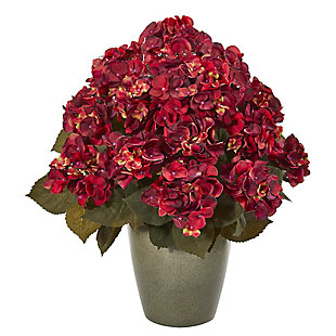 "Harvest  23"" Fall Hydrangea Artificial Plant in Green Planter, , rollover"