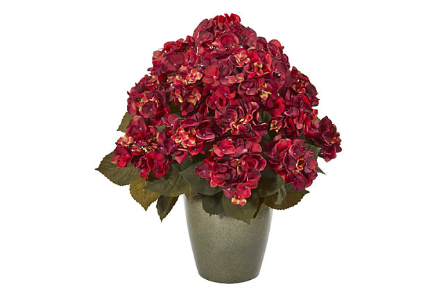 """Harvest  23"""" Fall Hydrangea Artificial Plant in Green Planter, , large"""