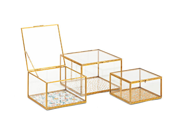 Imax Marigold Glass Boxes (Set of 3), , large