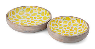 Imax Lemon Enamel Wood Trays (Set of 2), , large