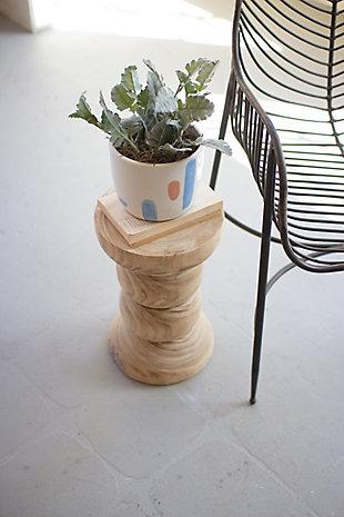Kalalou Hand-Carved Accent Wooden Pedestal, , large