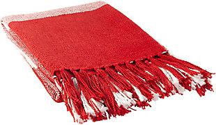 Surya Ryker Throw Blanket, Red/Burgandy, rollover